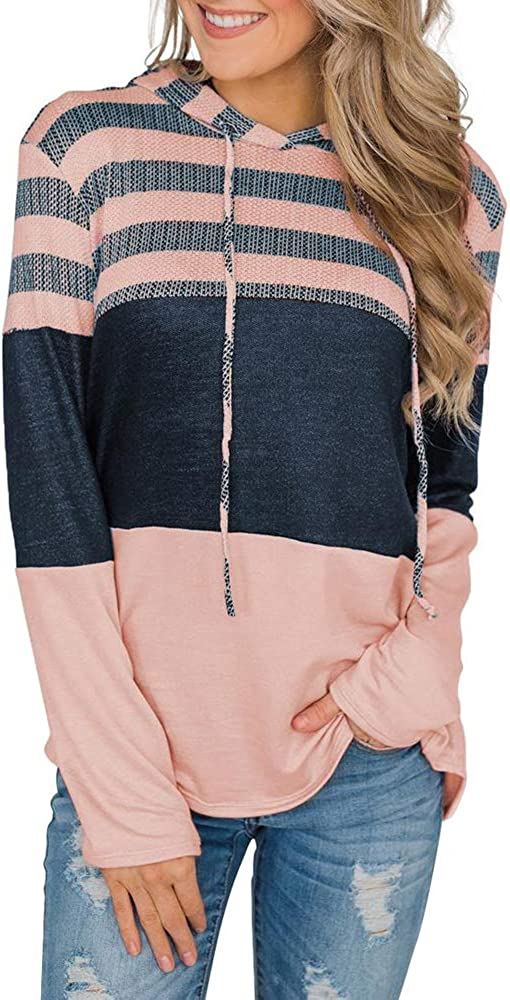 YEXIPO Womens Color Block Hoodies Oversized Sweatshirts Long Sleeve Striped Casual Loose Patchwork Pullover Hooded Tops