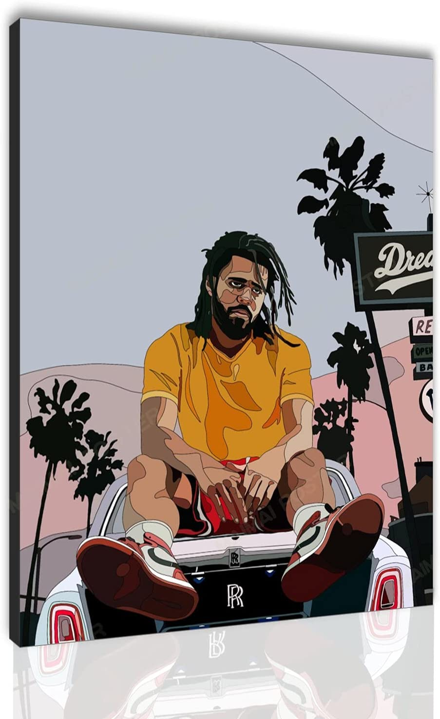 J Cole Poster New Shipping Free Rapper Canvas Wall Print Home Modern Art At the price of surprise Picture B