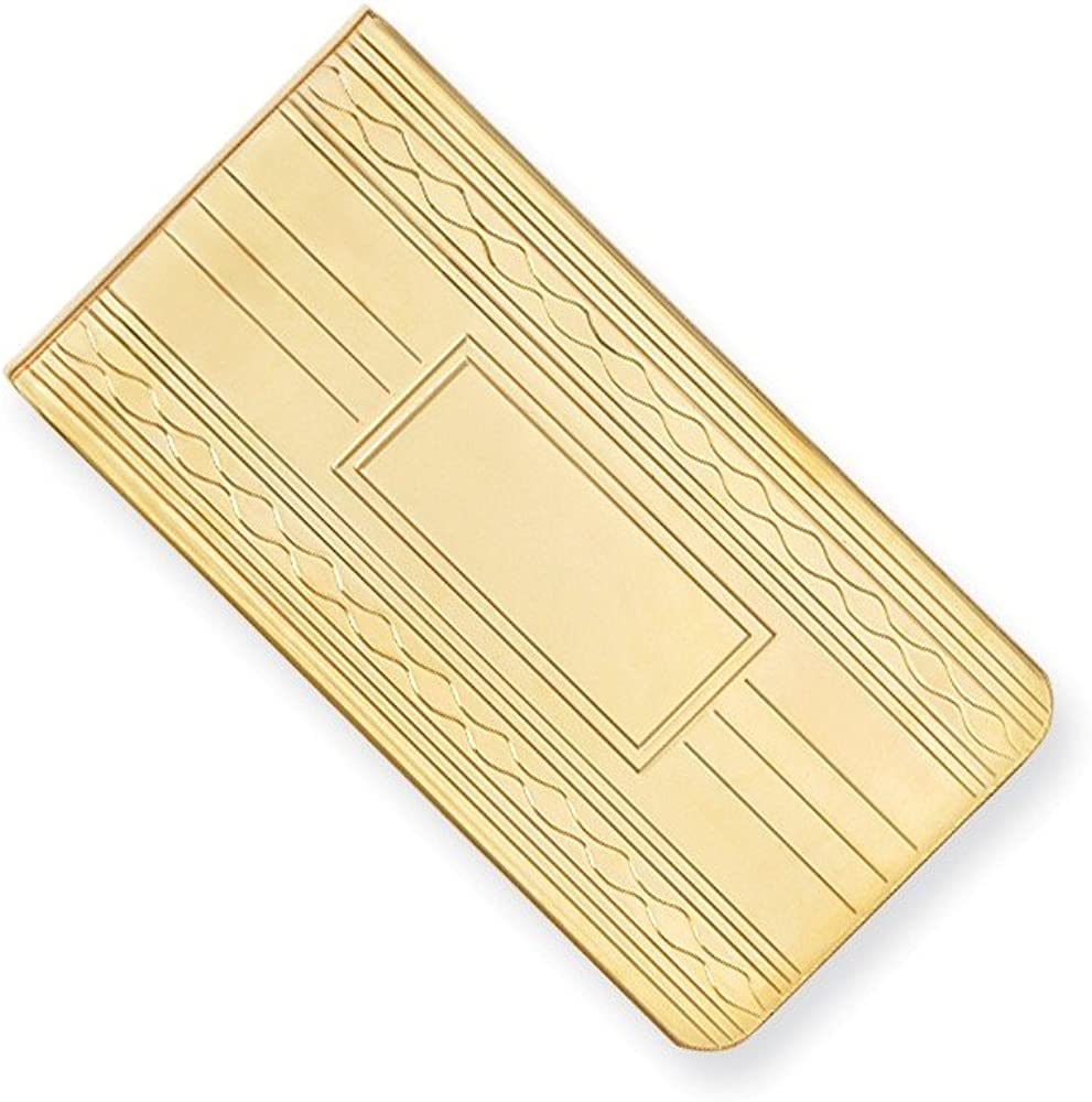 Sonia Jewels Gold-Plated Patterned Edge Slim Business Credit Card Holder Money Clip - 50mm x 25mm