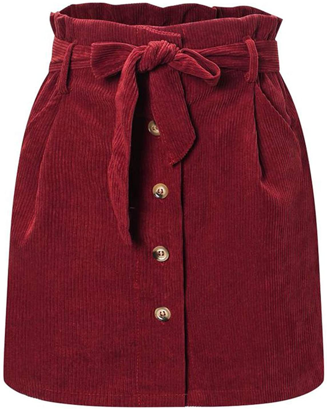 Uaneo Womens Corduroy Casual Paperbag Belted High Waist Button Front Mini Skirts(Burgundy-XL)