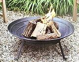 DRULINE ENZO Ø51cm Feuerschale Feuerkorb Feuerschale mit Metall Fuß Schwarz-Braun Feuerkorb Grillschale