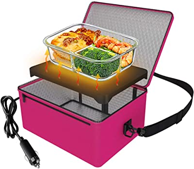 Portable Oven, 12V Car Food Warmer Portable Personal Mini Oven Electric Heated Lunch Box for Meals Reheating & Raw Food Cooking for Road Trip/Camping/Picnic/Family Gathering(Pink)