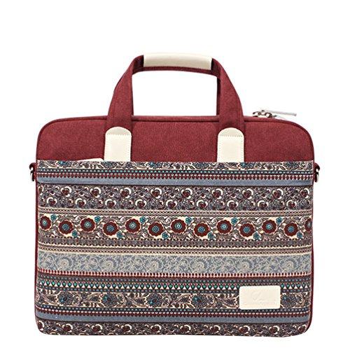 TieNew 15.6 Inch Laptop Shoulder Bag, Bohemian Canvas Laptop Briefcase Sleeve Bag Ultrabook Case Laptop Bag for 15-15.6 inches Laptop/Notebook Computer/MacBook/MacBook Pro/MacBook Air
