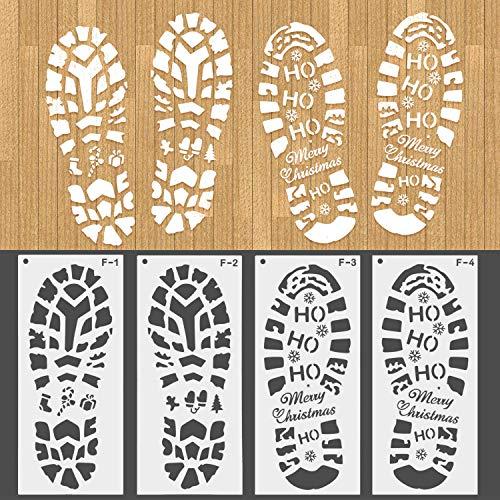 HOWAF Weihnachts schablonen, 2 Paare Wiederverwendbare Weihnachtsmann Fußabdruck schablonen Zeichenschablonen Malschablonen aus Kunststoff für Weihnachten Dekoration