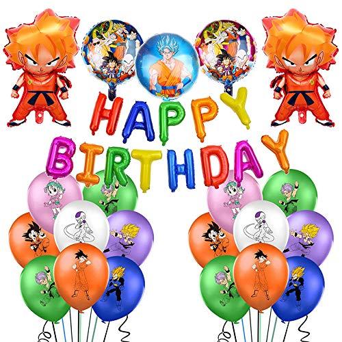 REYOK Kit de Decoraciones de Cumpleaños de Dragon Ball Globos de Látex de Dragon Ball...