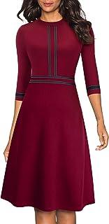 HOMEYEE Vestido de cóctel Retro de Manga 3/4 con Cuello Redondo Vintage para Mujer A135