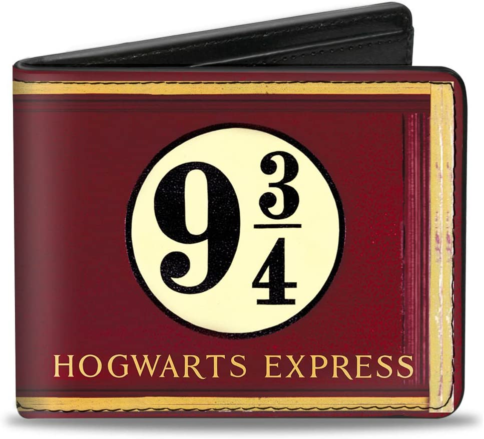 Buckle-Down mens Buckle-down Pu Bifold - Hogwarts Express 9¾ Burgundy/Gold Wallet, Multicolor, 4.0 x 3.5 US