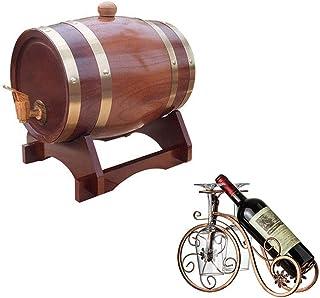 HWhome Tonneaux De Vin De Chêne Domestique Fût de chêne 3L, Fontaine à Boire en Bois, Convient à Vinification ou Stocker L...