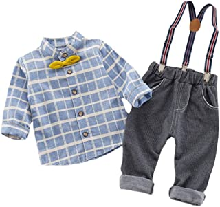 ALLAIBB Newborn Baby Boy Gentleman Overalls Outfit Plaid Shirt+ Suspender Pants with Bow Size 90 (Gray)