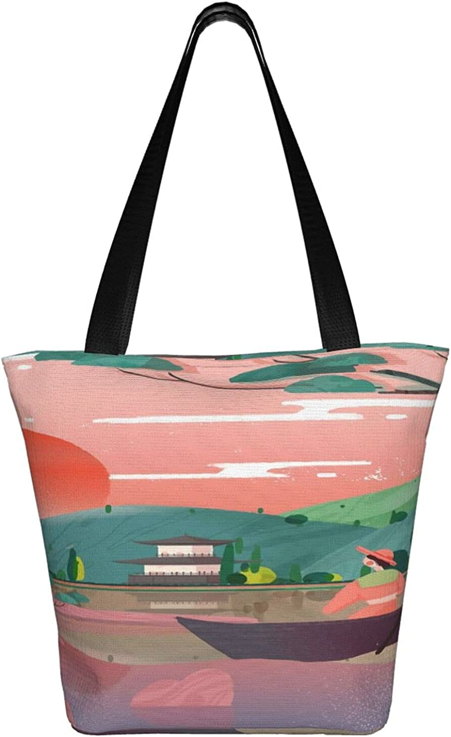sold out Japanese Style New product type Ukiyo-E Pink Handbag Tote Bags Bag Women Shoulder
