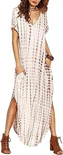 Women's Boho Maxi Short Sleeve Split Pockets Tie Dye Long...