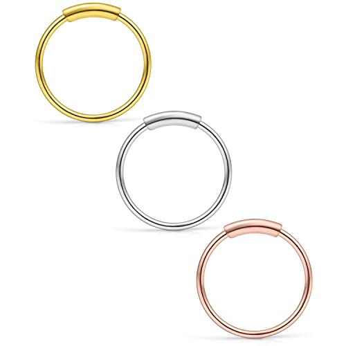 14k Rose Gold Nose Hoop Cartilage Earring Choose From 4 Sizes Petite Seamless Earrings For Sensitive Ears