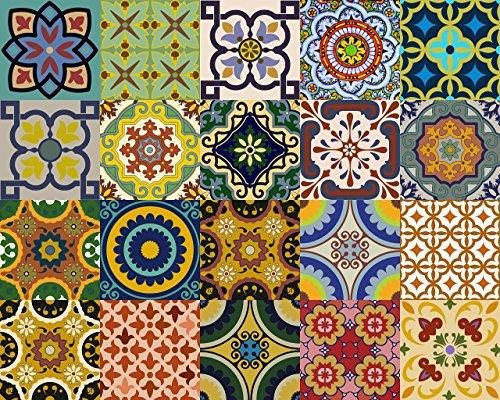 Backsplash Pegatinas para azulejos, 24 unidades, auténticos azulejos de Talavera tradicionales, para...