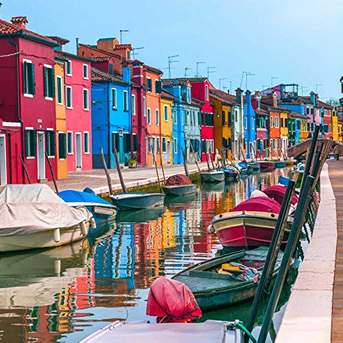 Feeling at home Rolled-Canvas-fine-Art-Print-Multi-Coloured-Houses-Next-to-a-Canal,-Burano,-Italy-Coastal-26x26_in