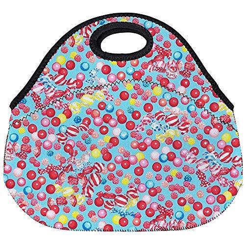 Estuche Portátil,Neopreno Lunch Bag,Bolsos Termico Comida,Candy Shop Collection Blue Candy Gumballs Allover...