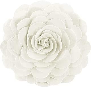 Fennco Styles Eva's Flower Garden Decorative Throw Pillow Cover, 13 Inch Round, Ivory
