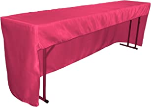 """LA Linen Open Back Fitted Bridal Satin Classroom and Meeting Room Tablecloth, 72"""" x 18"""" x 30"""", Fuchsia"""