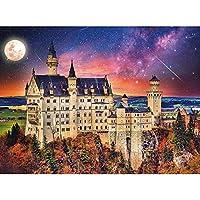 リラクゼーションと家の壁の装飾のための5DDIYフルドリルダイヤモンド絵画ダイヤモンド図面(40x50cm)城の月と星のダイヤモンド絵画