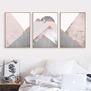 XIXISA Mountains Blush Pink Grey Prints Scandinavian Modern Contemporary Poster Home Wall Art Decor Canvas Painting Wall Pictures/Unframed/50x70cm