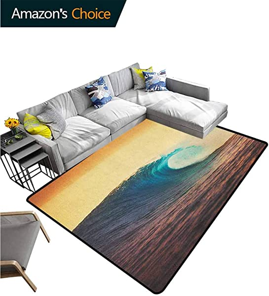Ocean Paisley Customize Door Mats For Home Mat Ocean Breaking Wave At Sunset In Warm Colors Sea Seasonal Picture Art Easy Maintenance Area Rug Living Room Bedroom Carpet 3 X 5