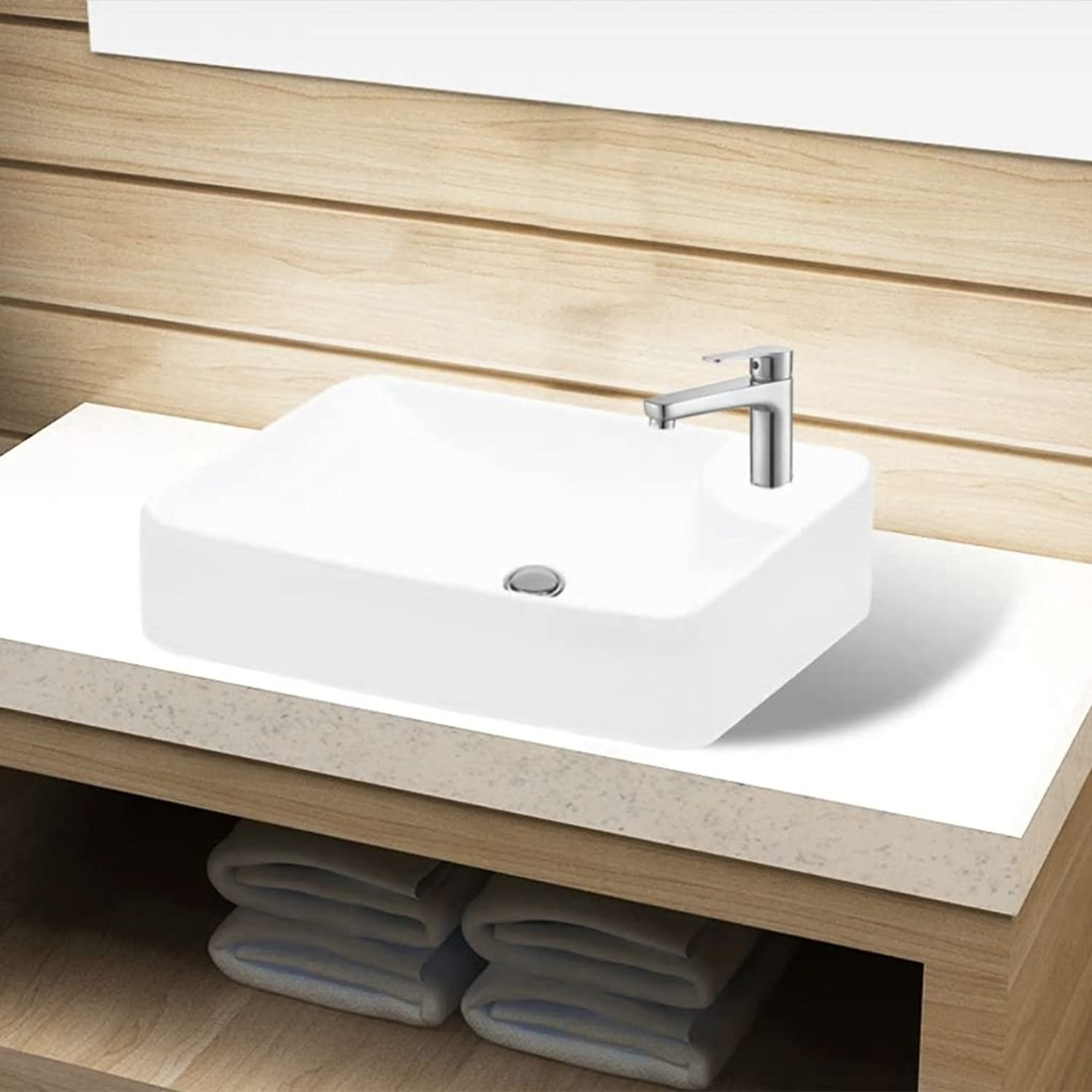 Xingshuoonline Ceramic Sink Tap with Tap Hole White Wash Basin Tap Hole Diameter  3.5 cm