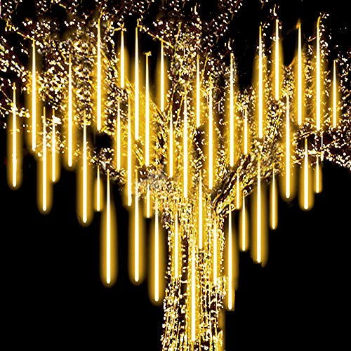 Roytong Waterproof Cascading LED Meteor Shower Rain Lights Outdoor for Holiday Party Wedding Christmas Tree Party Tree Decoration Birthday Gift (Warm, 11.8)