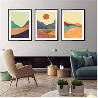 Kkglo 3Pcs Nordic Minimalist Wall Art Print Canvas Posters Abstract Mountain Sunset Painting For Living Room Office Home D...