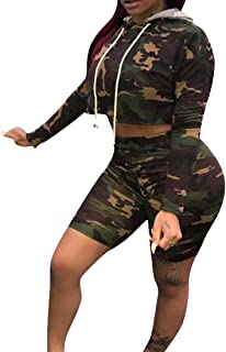 FSSE Womens Long Sleeve Camo Hooded Crop Top & Shorts Sweatsuits Tracksuits Outfits
