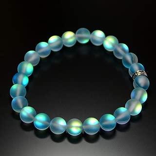 Mermaid Glass Quartz Glowing Aura Moonstone Bracelet Matte 8mm for her women valentine birthday gift Stretch Pink Green Aqua