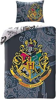 Halantex Juego de Cama de algodón Cresta Logo Escuela de Magia de Hogwarts Funda nórdica 140x200cm y Funda de Almohada - Original Inspirado en Harry Potter