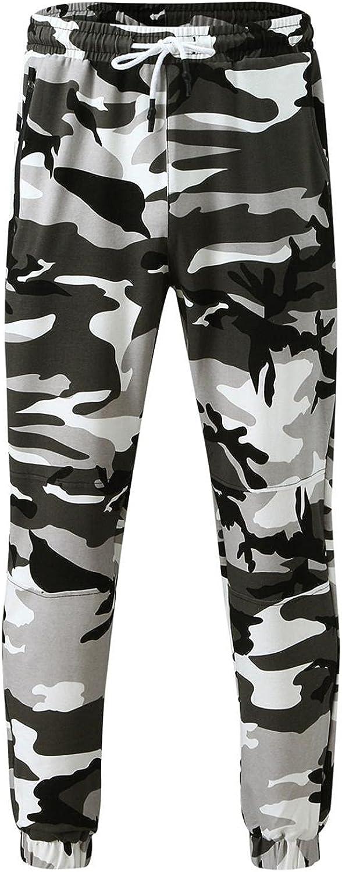 NREALY Mens Sweatpants Drawstring Camo Mid Waist Joggers Pants with Pocket