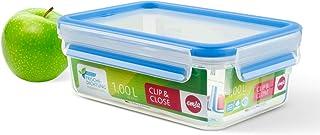 comprar comparacion Emsa Clip & Close Conservador Hermético de Plástico Rectangular de 1 L, Transparente y azul