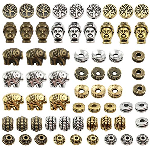 Tibetan Loose Spacer Beads, JIALEEY 92PCS Buddha Head Lucky Elephant Life Tree Spacer Beads Fit European Charm for Bracelet Necklet Jewelry Making