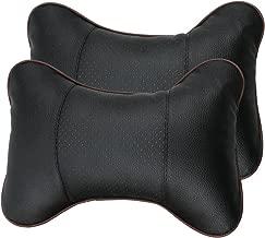 Leeko 2PCS Leather Car Seat Pillow Breathable Car Head Neck Rest Cushion Headrest Auto..