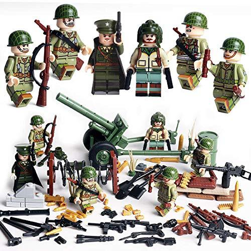 ATING Mini figurines de soldats américains de la Seconde Guerre mondiale - Ensemble de blocs de construction LegoMilitary Figurines de soldat de l'armée aérienne - Compatibles avec l'armée allemande