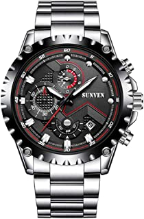 Mans Watch Waterproof Sports Quartz - SUNVEN Watches for Men Water Resistant 30M with Stainless Steel Brecelet Chronograph and Calendar Military Outdoor style Fashion