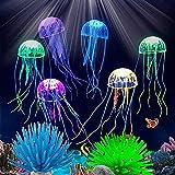 Duogege 6 piezas de medusas brillantes con anémonas de acuario, decoración artificial de anémonas de mar, inofensivo para todos los peces, adecuado para la decoración del hogar de agua dulce y salada