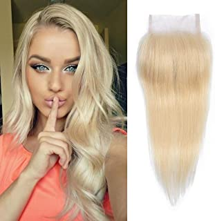 Dressmaker Honey Blonde #613 Straight Human Hair 4x4 Free Part Lace Closure-Unprocessed Brazilian Virgin Remy Human Hair (12 inch, Straight)