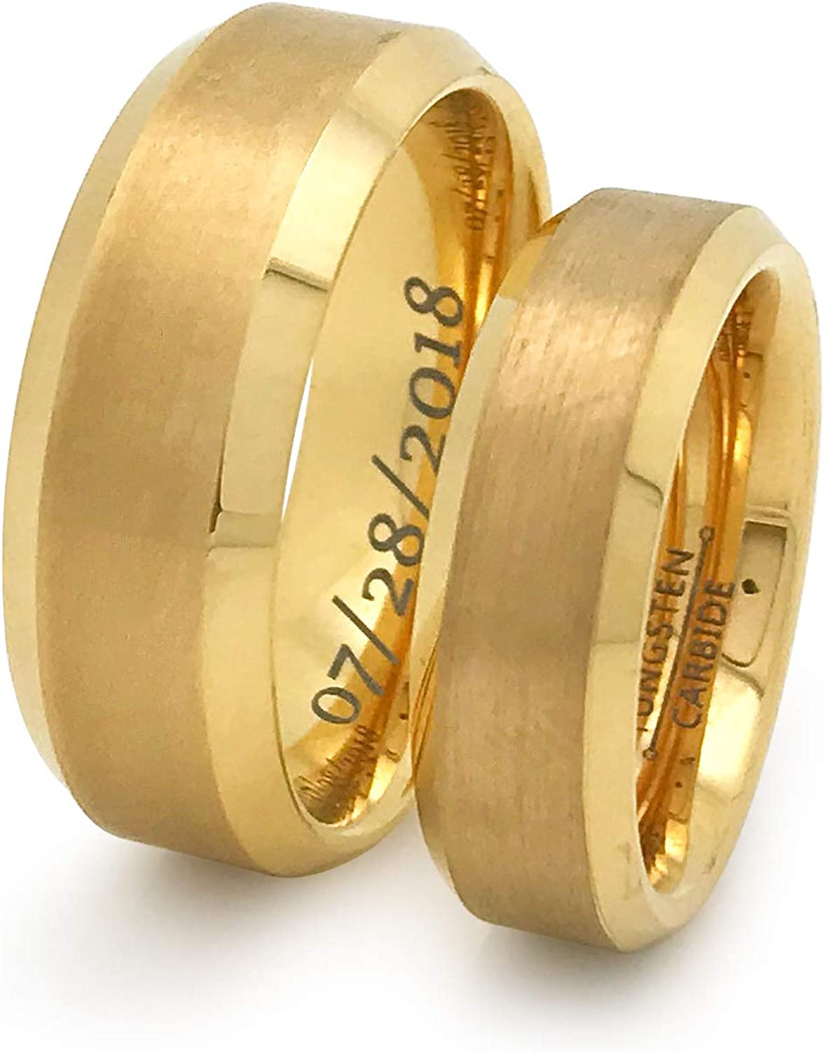 Mens Gold Wedding Band 8mm Gold Plated Tungsten Wedding Ring Men Personalized Custom Engraving Promise Ring Anniversary Ring Unique Gift