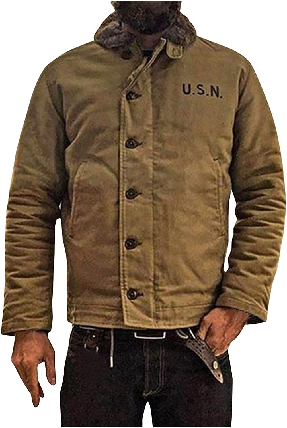 Men's Winter Thick Coat Casual Hipster Outwear Tops Lightweight Big & Tall Single Breasted Jacket with Pocket