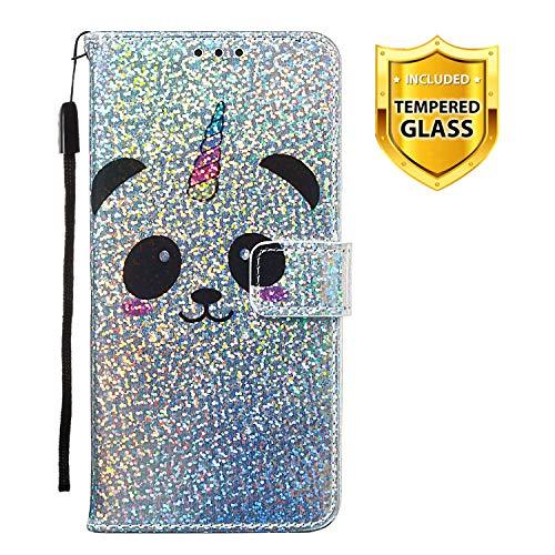 Boloker Kompatibel mit Huawei Honor Play 8A Hülle + Panzerglas Schutzfolie, Glitzer Flip Wallet Case mit Kartenhalter & Magnetverschluss Premium PU Leder Hülle Handyhülle (Panda)