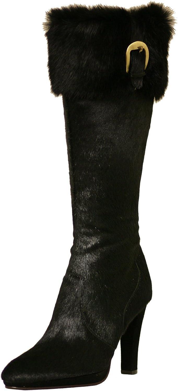 Cochni Fur Tall Dress Boots for Women - Black