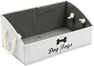 Gray Stripe Medium Dog Toy bin 15x10x8.3 inch Linen-Cotton Blend Dog Container Organizer with lid Collapsible Dog Toy Basket for organizing Dog Toys and Stuff