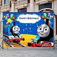 漫画の背景漫画トーマストレイン写真の背景写真撮影のための布の誕生日パーティーの背景ベビーシャワー新生児の肖像写真の背景ホオジロ色の風船の写真ブースの背景