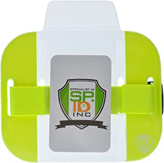 2 Pack - High Visibility Bright Neon Armband ID Card Badge Holders - Secure Top Loading with Adjustable Elastic Band - HI VIS Arm Bands for Work or Ski Passes by Specialist ID (Yellow)