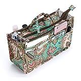 IGNPION, organizer da borsetta con 13 tasche espandibili, chiusura con cerniera, organizer per pannolini con manico, 29 x 16 x 9 cm (fiore di pavone)