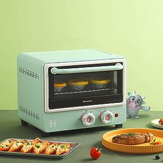 Toaster oven Mini Horno Tostador Compacto Tubo de Onda Ligera de 12L La calefacción Puede Hornear Pastel de Gasa de 8 Pulgadas Revestimiento de Aluminio 1000W (Blanco/Verde)