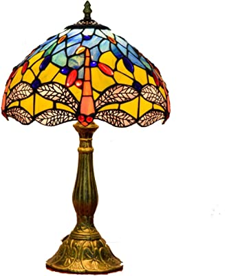 f99ef46007e1 12-Inch Pastoral Yellow Dragonfly Tiffany Style Stained Glass Table Lamp  With Alloy Base Bedroom
