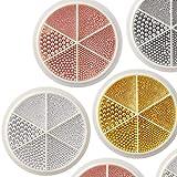 6 ruedas Mini Caviar brillante Micro cuentas de cristal 3D Rosa dorado Plata Nail Art Decoraciones de diamantes de imitación DIY Accesorios de manicura