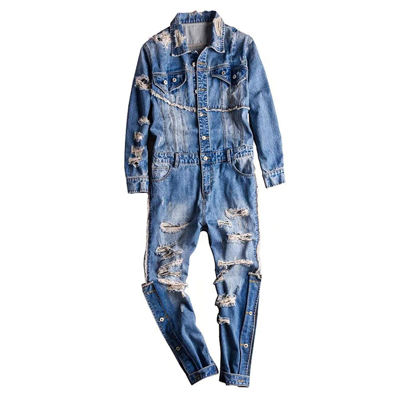 キャンセルほのか解体するTenflow つなぎ オールインワン メンズ オーバーオール カバーオール ロングパンツ ジーンズ ジャンプスーツ ダメージ ステージ衣装